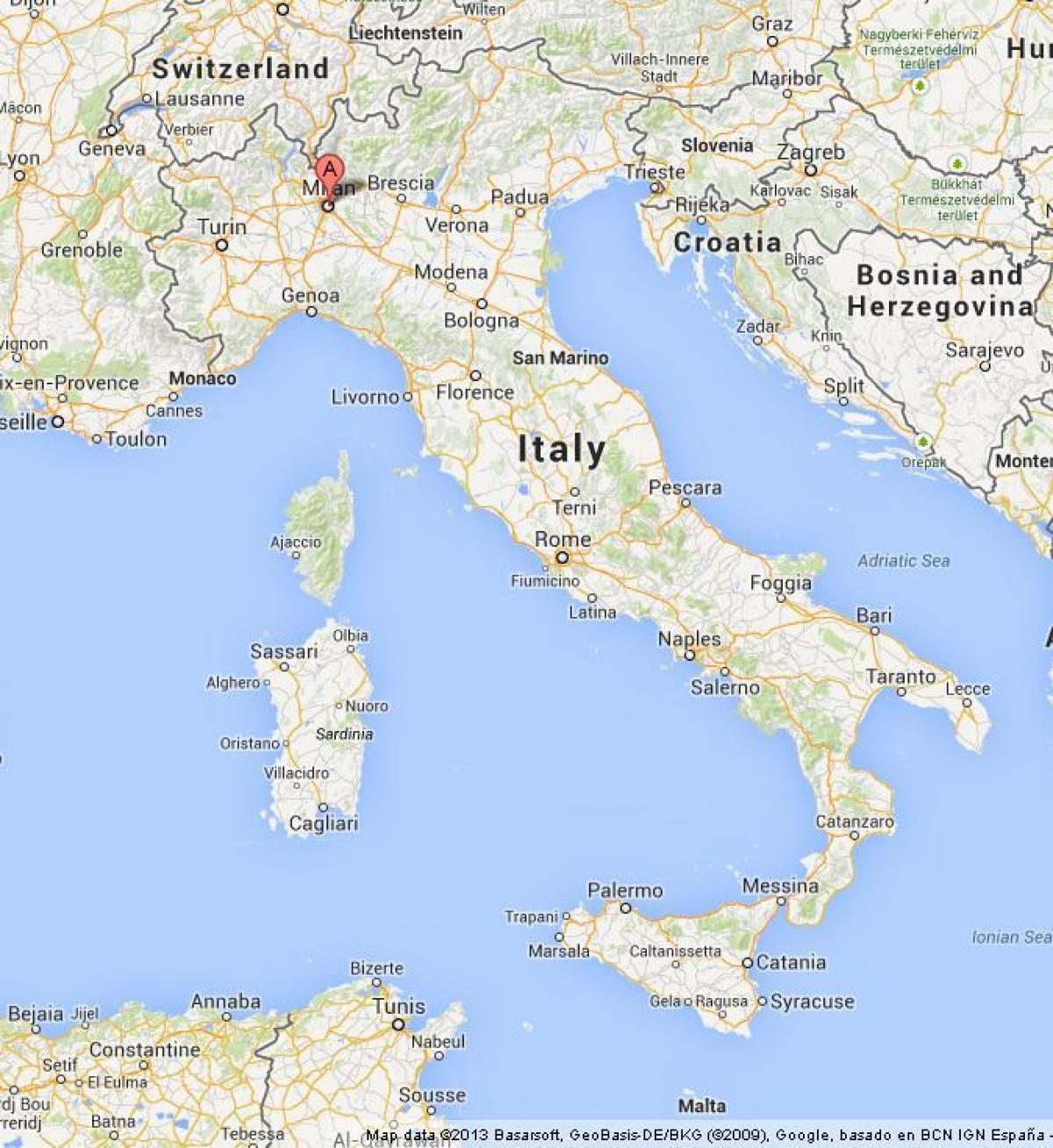 Milaan Op De Kaart Milano Op Kaart Lombardije Italie
